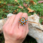 Natural Orange Rainbow opal flower topaz  Sterling Silver ring 6.5