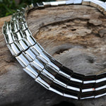 Sterling silver vintage  Concave Abstract Taxco Modernist necklace collar