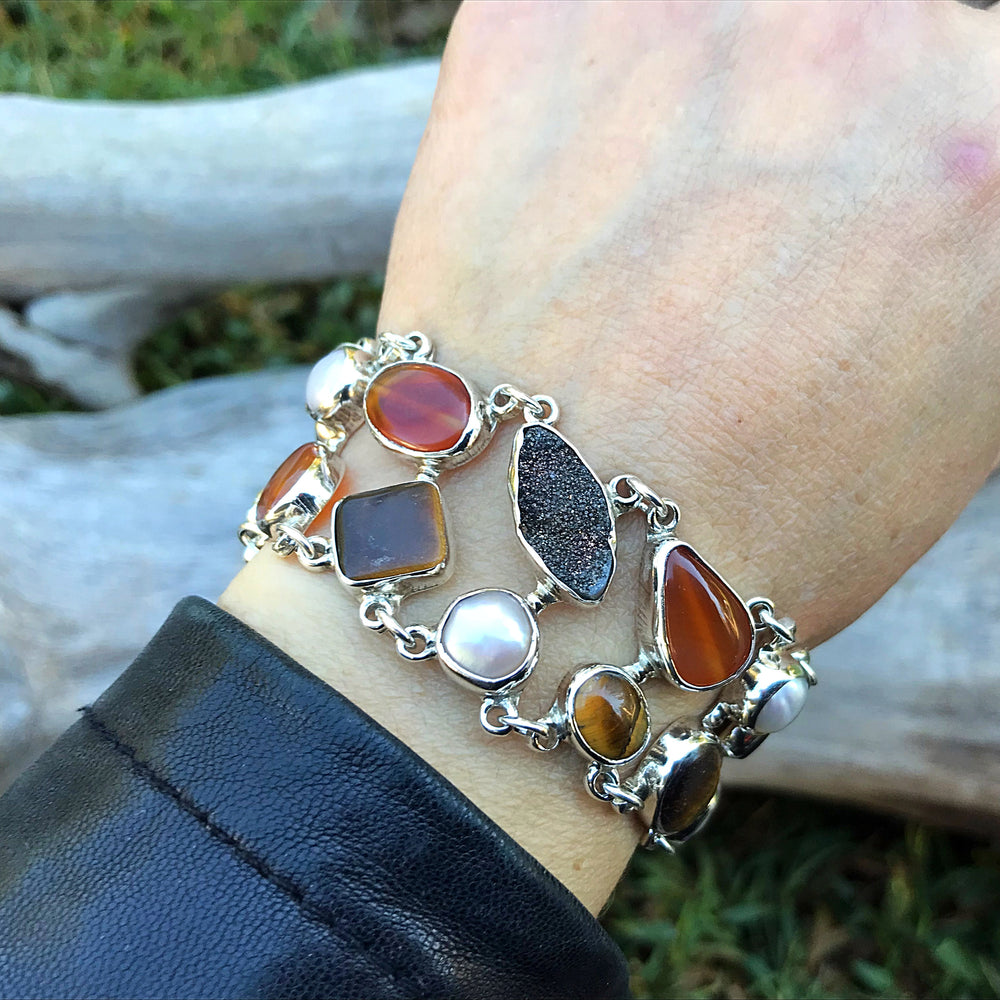 950 sterling silver heirloom statement white pearl tiger eye druzzy carnelian  Bracelet