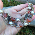 950 sterling silver heirloom statement Necklace white pearl tiger eye druzzy carnelian