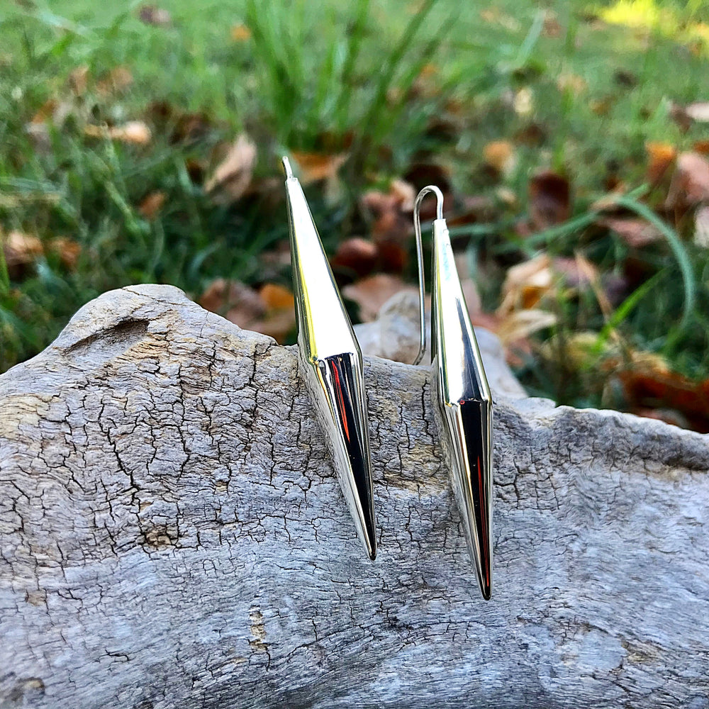 sterling silver Modernist polish abstract  conic Earrings