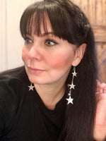 sterling silver Modernist polish Long  Stars Dangle Earrings