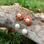 Sterling Silver natural ruby white natural pearl handmade Earrings
