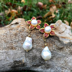 Sterling Silver natural ruby white natural baroque pearl Gold Earrings