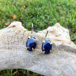 sterling Silver blue sapphire Dangle  Earrings