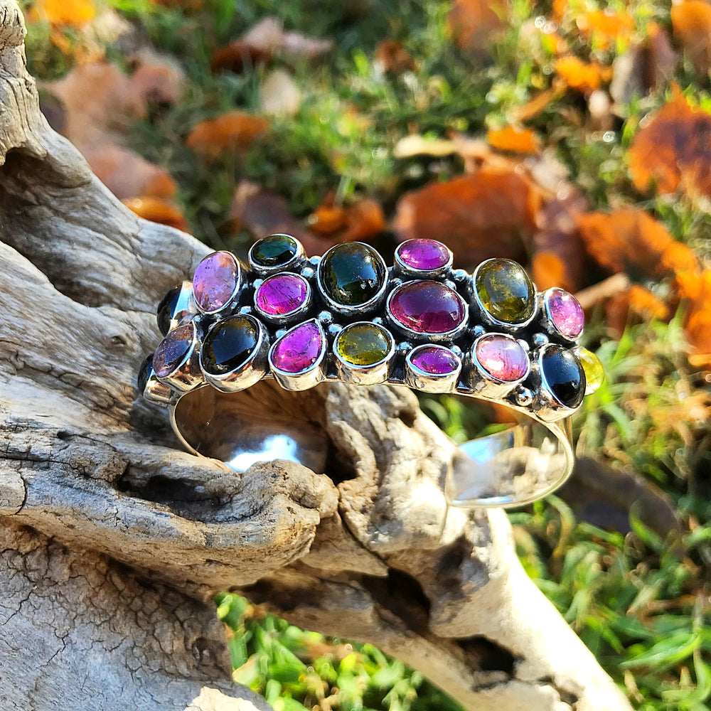 925 sterling silver  wide bracelet cuff with gemstones