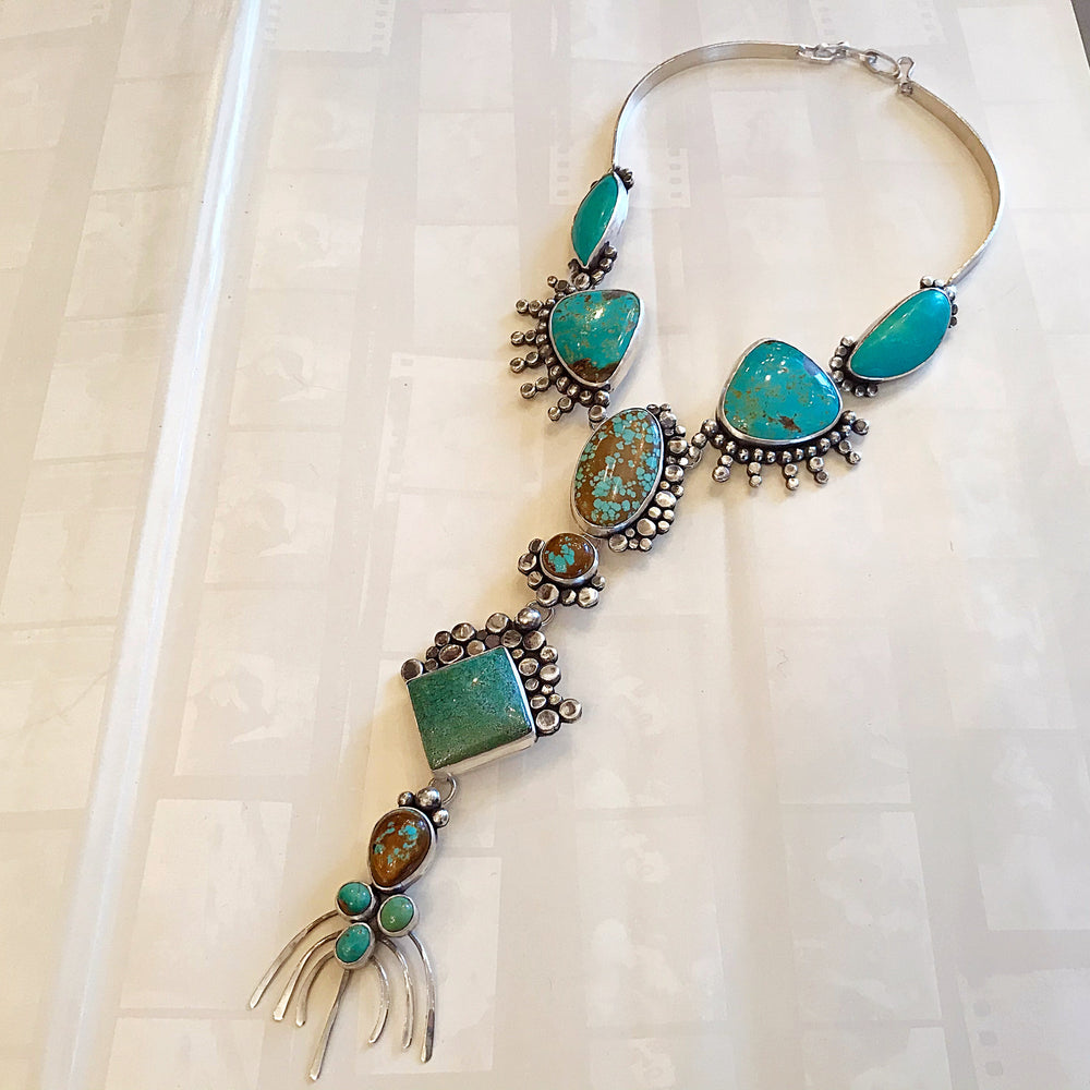 Sterling silver natural turquoise statement long  necklace