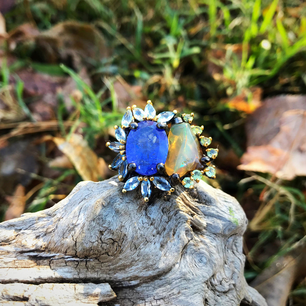 sterling silver Natural Fire Opal sapphire statement Ring 7.5