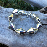 Sterling Silver Modernist Abstract bench bead  Handmade Vintage Bracelet
