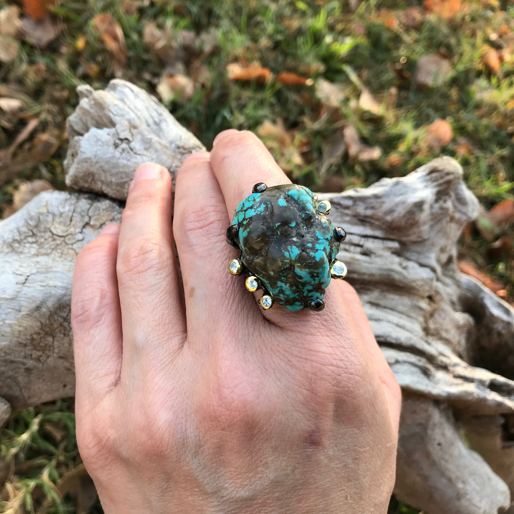 Sterling silver natural turquoise brutalist rustic topaz statement ring 6