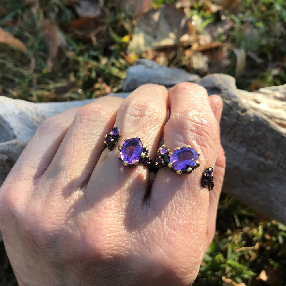 Sterling Silver Gold organic natural art Amethyst double ring handmade 7 or 6