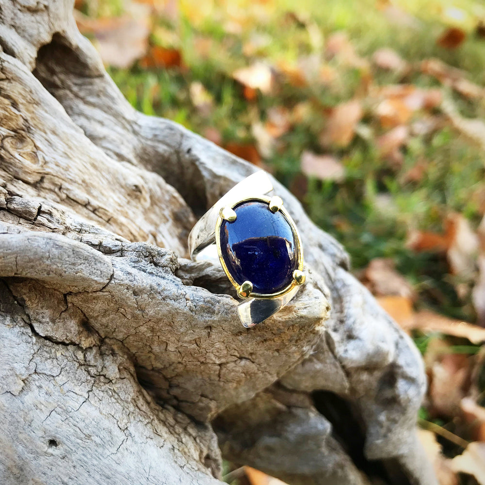Handmade Sterling Silver Natural Blue Sapphire Ring 6.5