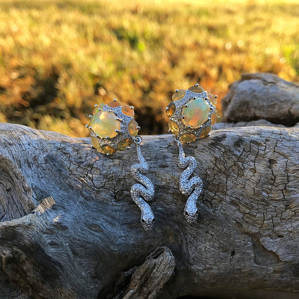 sterling silver Natural opals CZ snake  Stud gangle Artisan earrings