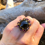 sterling silver statement black spinel tourmaline oversize ring 9