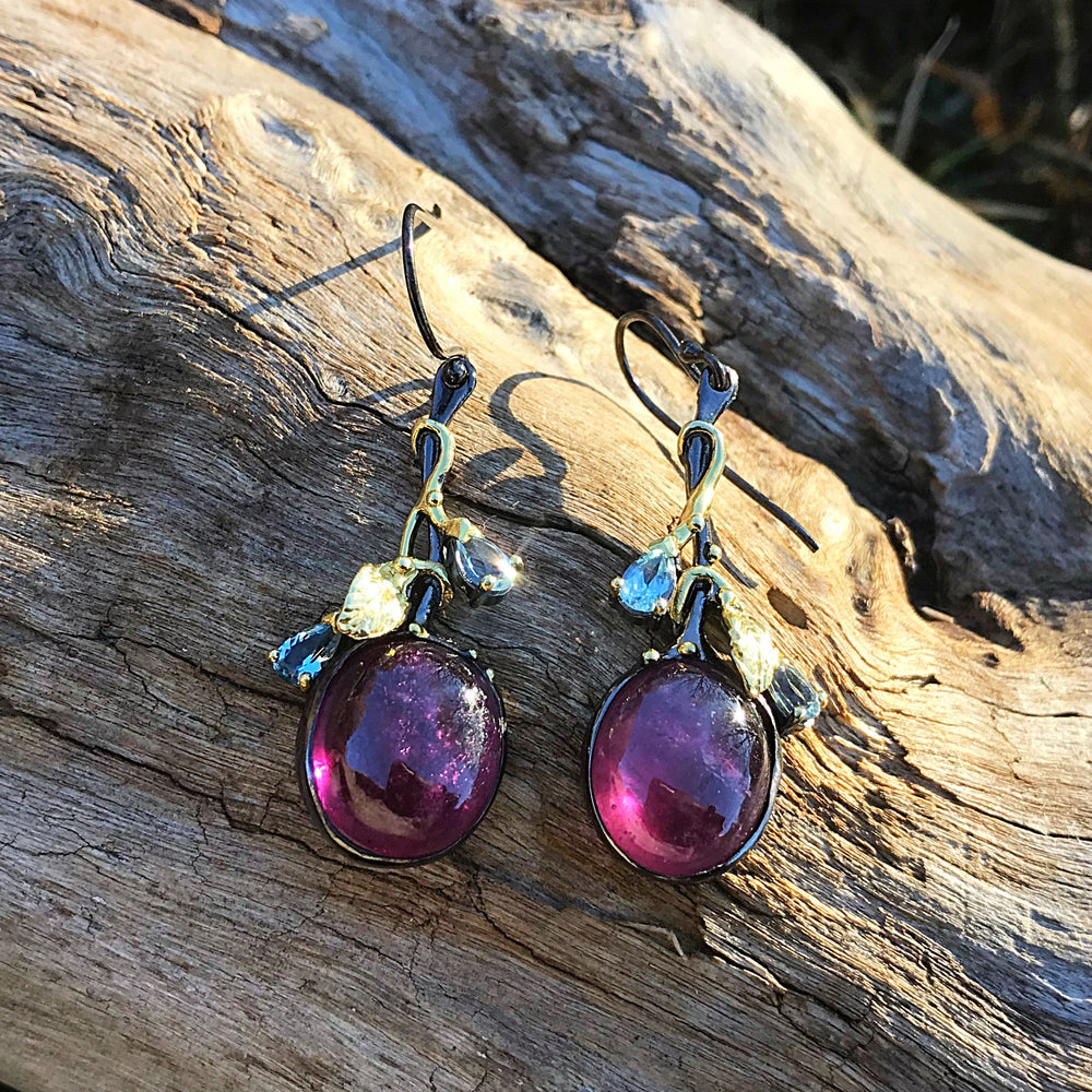 Sterling Silver red ruby topaz art dangle Earrings