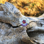 925 sterling silver flower  red rhodolite amethyst artisan ring 7