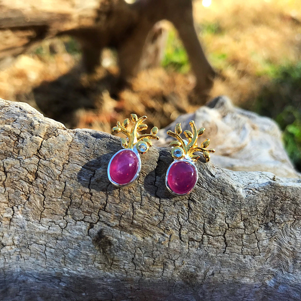 Sterling Silver Natural red ruby Amethyst stud Earrings