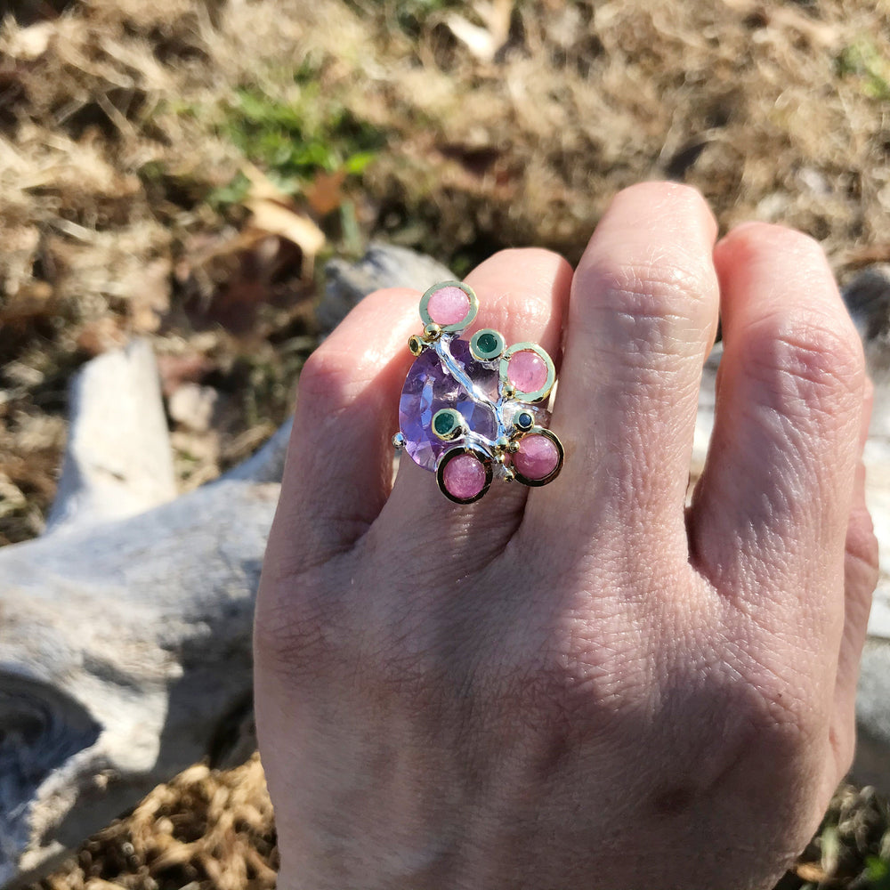 sterling silver modernist Amethyst ruby sapphire statement ring 7