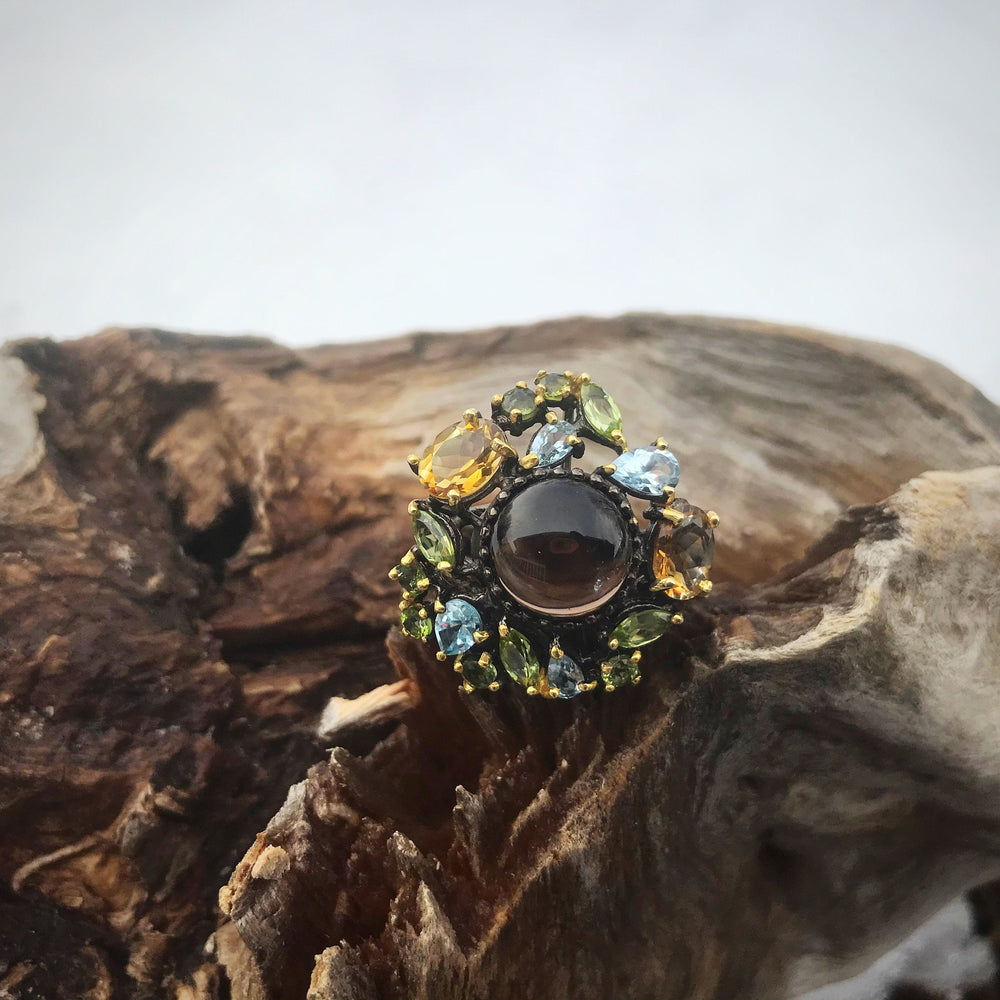 sterling Silver Smokey quartz topaz peridot citrine statement ring