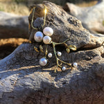 Artisan sterling silver white pearl branch pendant for necklace