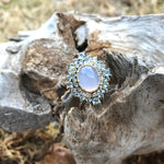 Handmade sterling silver Natural chalcedony blue topaz ring 6.5