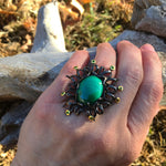 925 sterling silver natural malachite  statement ring 7.5