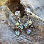 Sterling Silver Natural rainbow Opal ruby Dangle Earrings