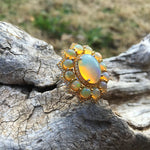 sterling silver Natural Fire Opal yellow  sapphire statement ring