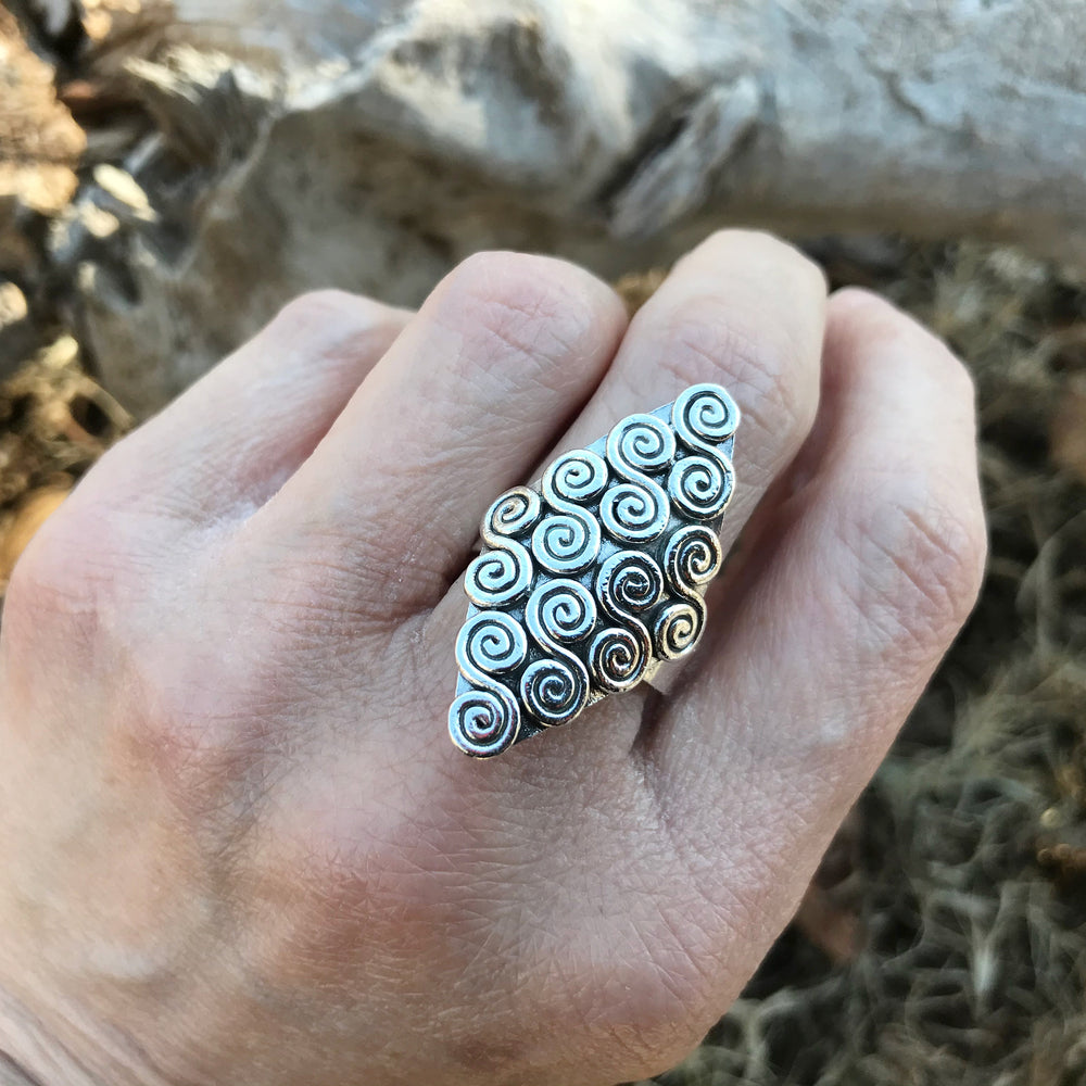 Sterling Silver Abstract Statement  vintage Ring adjustable