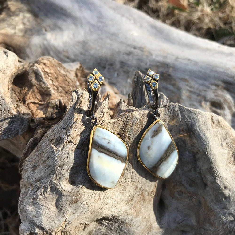 sterling silver statement natural opal topaz earrings