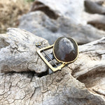 Sterling silver cat's eye Sunstone sapphire modernist square ring 7-8