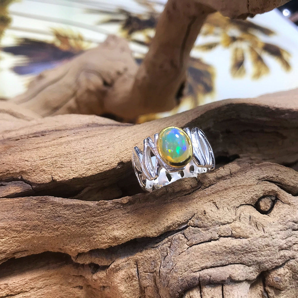sterling silver natural fire opal ring 5.5