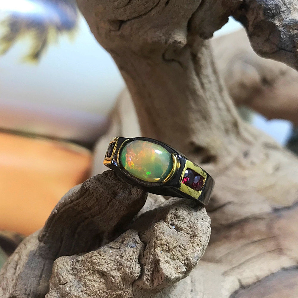 Sterling Natural Opal Rhodolite Band ring 7.5