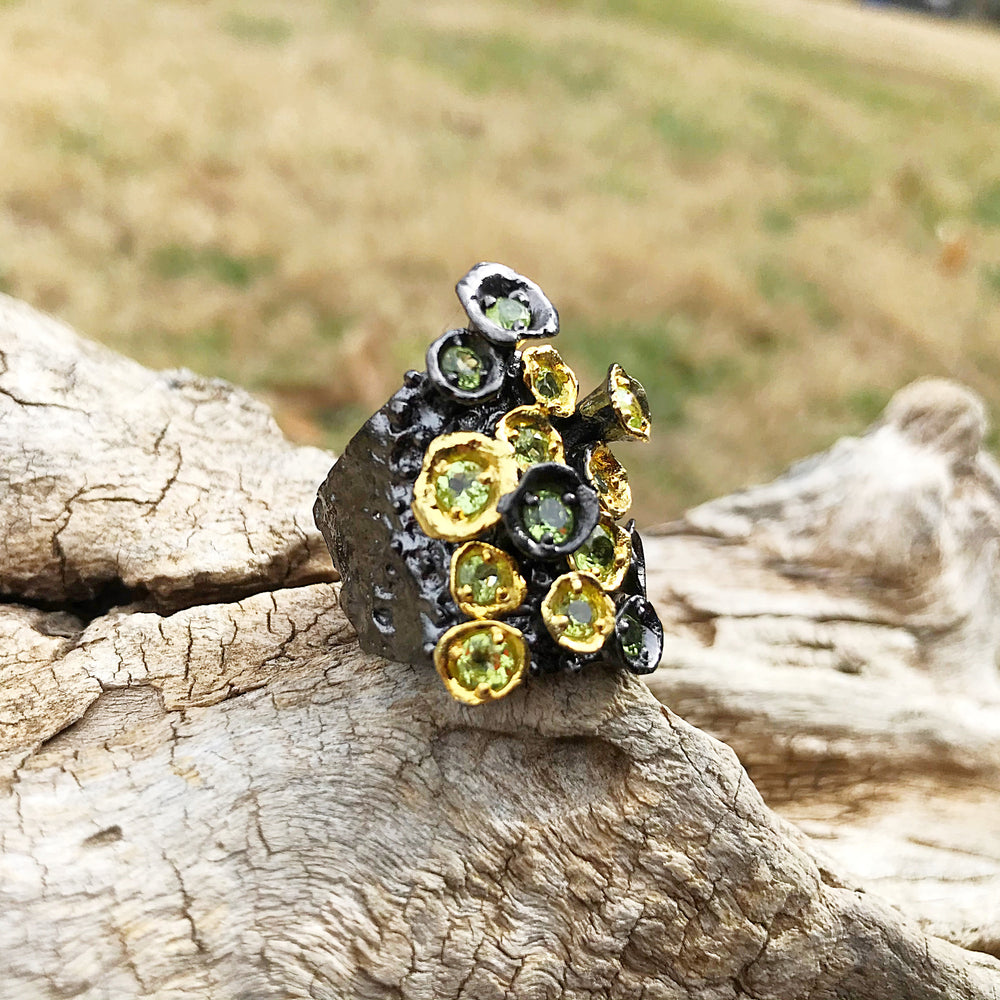 Handmade Sterling Silver Brutalist abstract peridot Ring 7.5