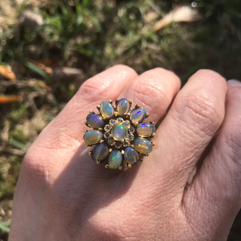 Natural Rainbow opal Sterling Silver Ring 6.5