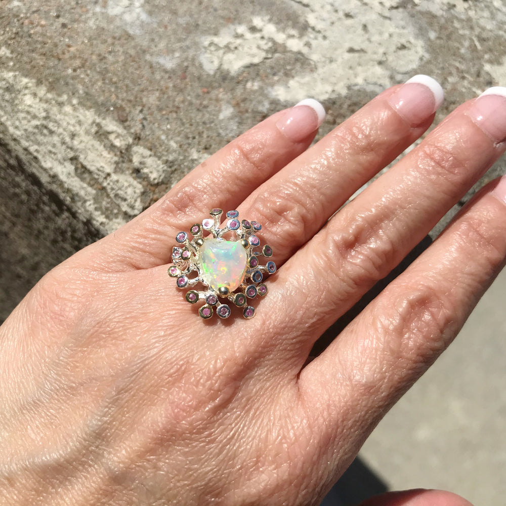 Sterling Silver rainbow opal pink tourmaline statement ring 8