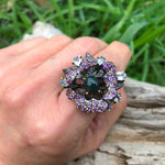 Sterling Silver Amethyst Statement black opal ring 7.5