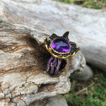 sterling silver statement Natural Amethyst abstract ring 9