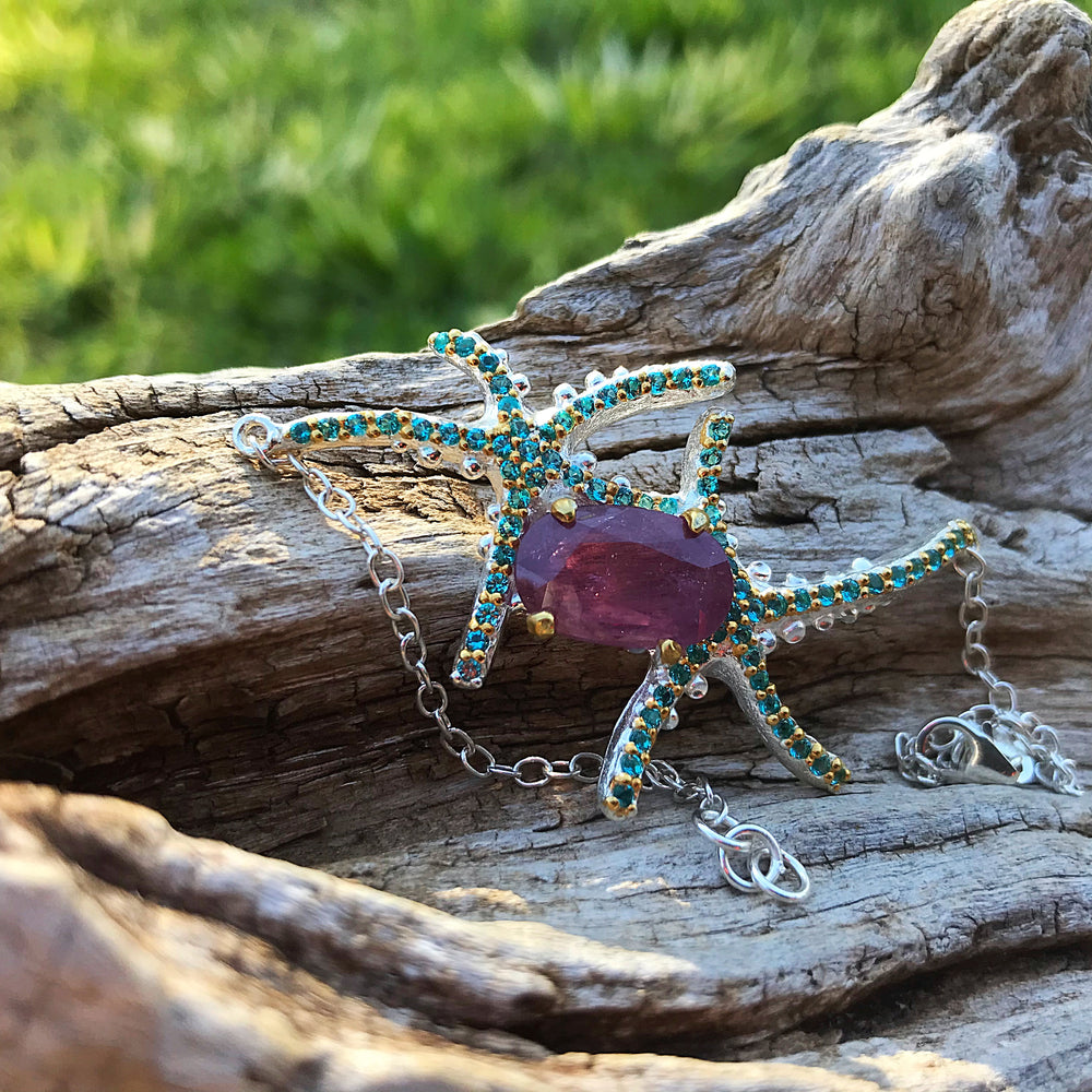 Sterling Silver Natural red ruby  starfish bracelet