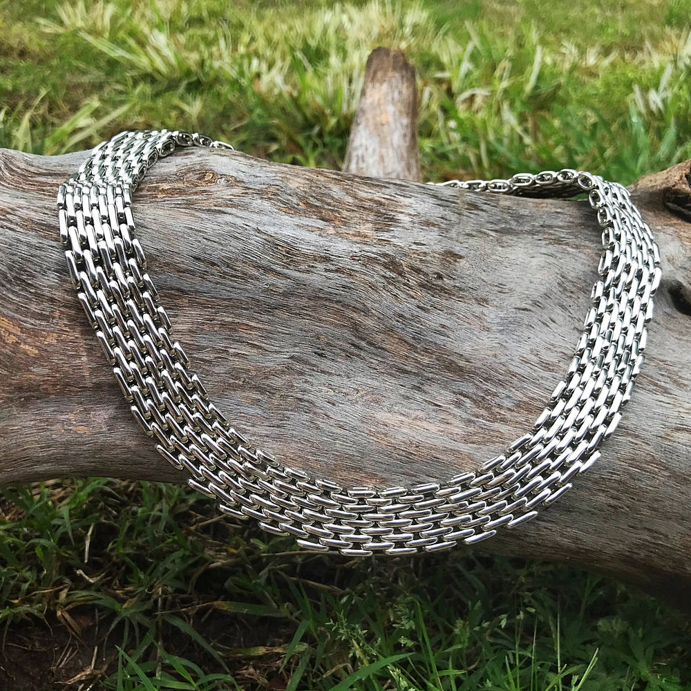 Sterling silver statement modernist mesh link heavy  necklace collar