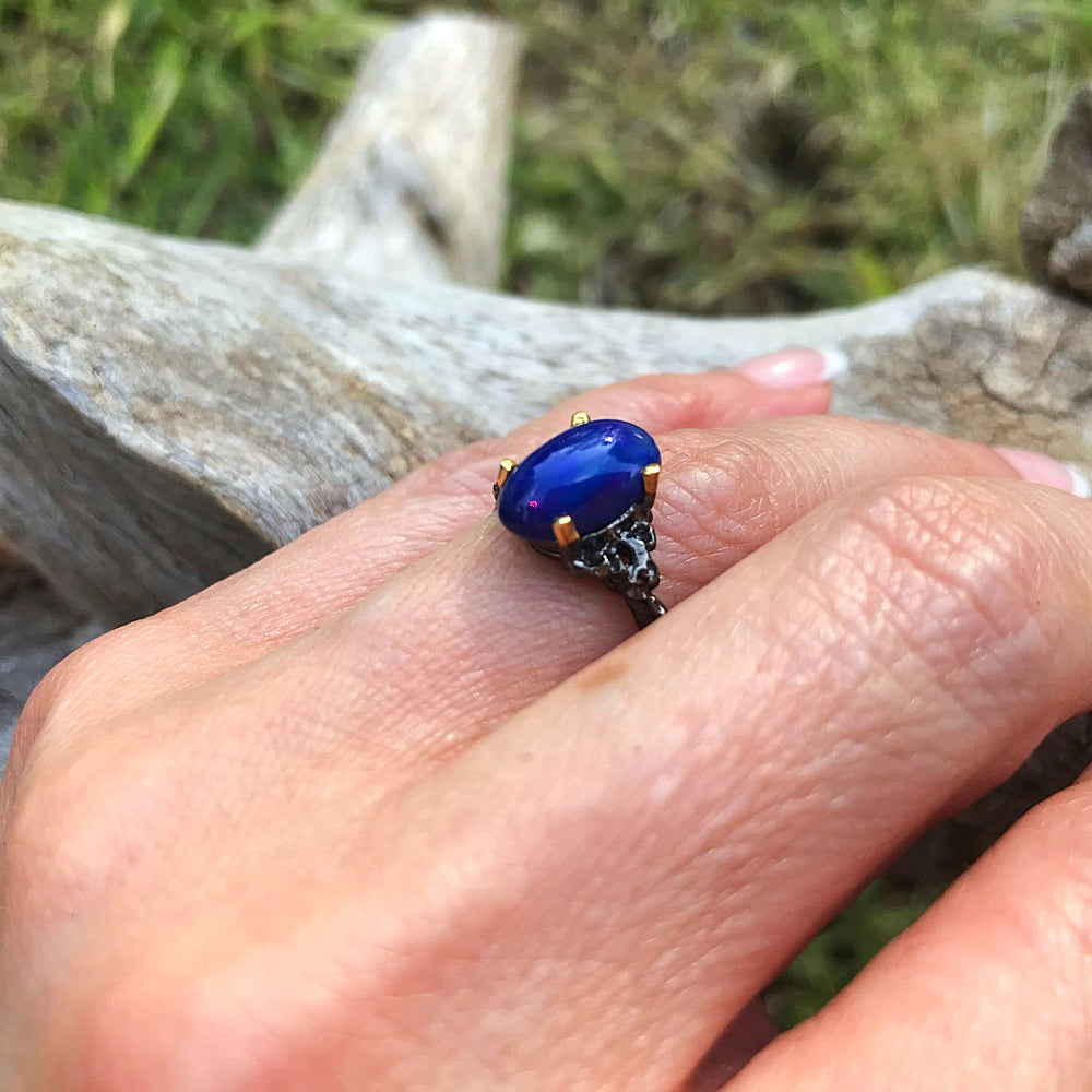 Sterling Silver natural blue Opal ring 8.5