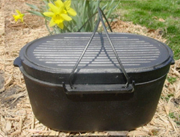 Cast Iron Roasters - Oval Roaster Cast Iron Self-basting Lid 10qt Dutch Oven