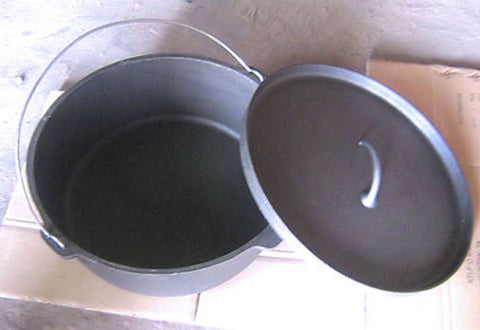 Dutch Oven Flat Bottom - Dutch Oven Super-sized 24 Quarts/6 Gallons Pure Cast Iron
