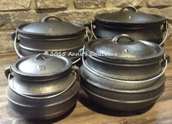 Flat Bottom Potjie Plats - Flat Bottom #1 Plat Potjie Pure Cast Iron Bean Pot Syrup Kettle