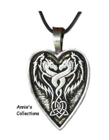 Jewelry & Adornment - Lady And The Dragon Heart Pendant Pewter