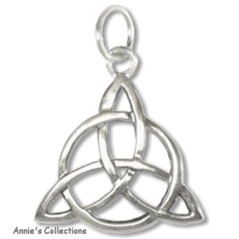 Jewelry & Adornment - Triquetra Sterling Silver Trinity Knot Charm Necklace Eternal Lights