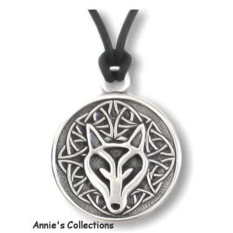 Jewelry & Adornment - Wolf Necklace Tribal Wolf Celtic Wisdom Inscribed Pewter Pendant