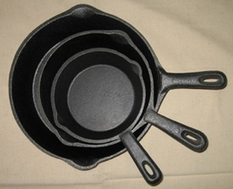 Outdoor Cooking - Cast Iron Skillet Trio Short Handle Cookware Camping Stovetop Fry-pan