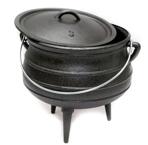 Potjie Pots - Size 3 Potjie Pot Cauldron 8 Quarts Pure Cast Iron Outdoor Cookware