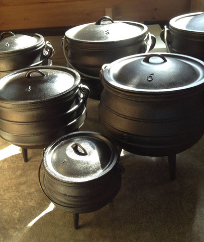 Potjie Pots - Size 6 Potjie Pot Cauldron 14 Qts Pure Cast Iron Outdoor Cookware